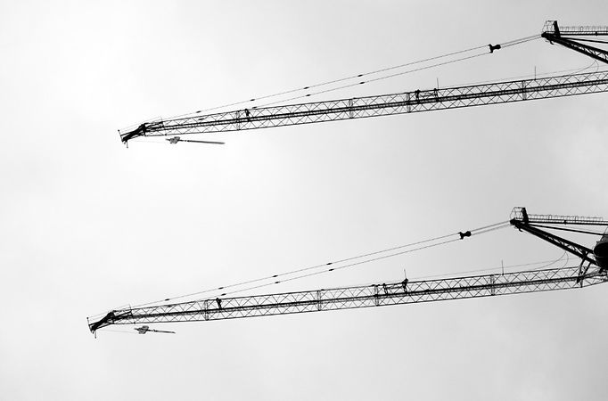 Part of lifting crane in black and white