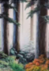 oil painting of pine trees