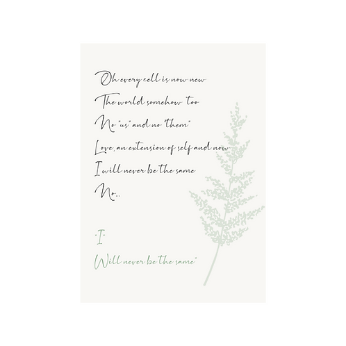 Never Be The Same - Lyric Card (mother)