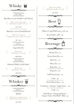 Bisides Cocktail MENU調酒以外