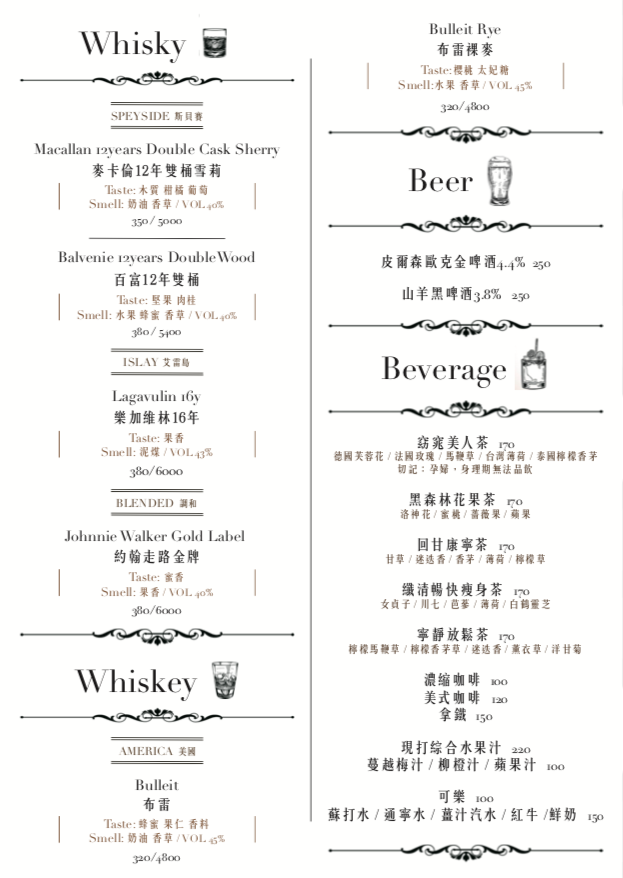 Bisides Cocktail MENU調酒以外