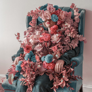 Pink & Blue Floral Art - Woman in Chair