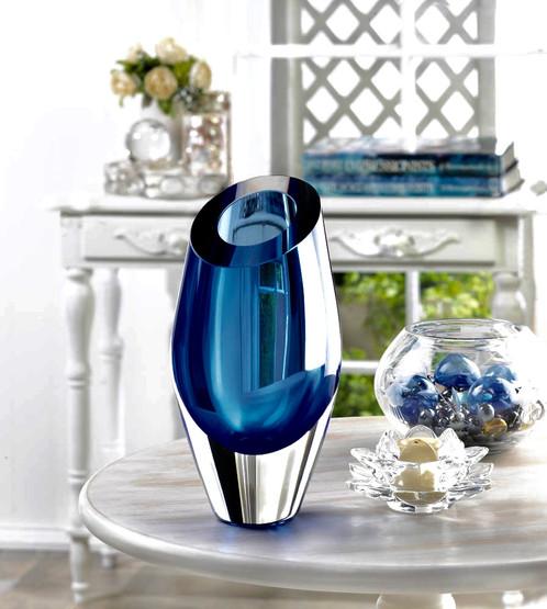 Blue Cut Glass Vase