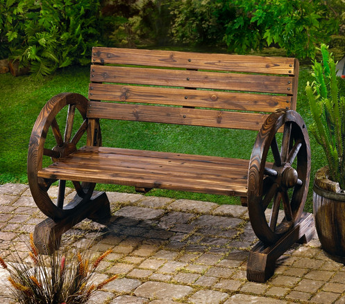 Shade After A Long Day This Rustic Bench Is Right At Home On Patio Porch Or Lawn Sy Love Seat Has Ample Seating For Two With Quaint Wagon Wheel