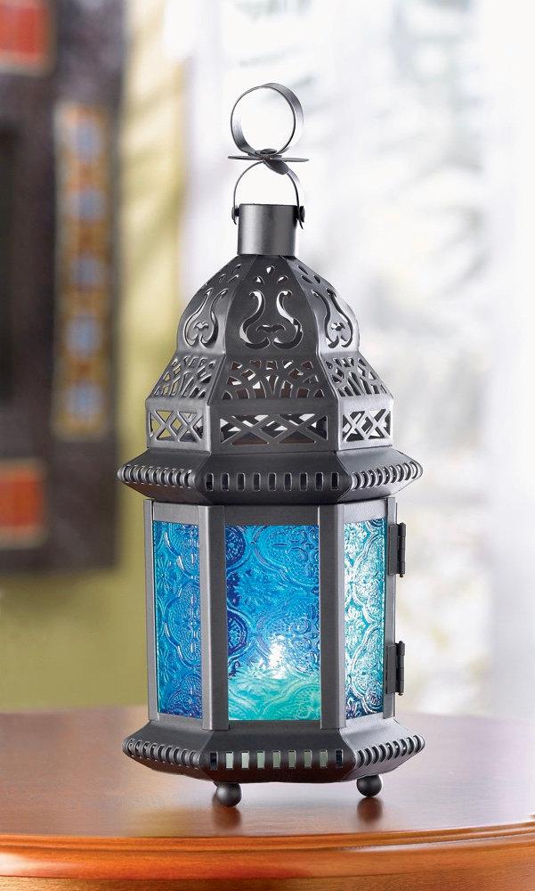 Small Blue Glass Moroccan Lantern