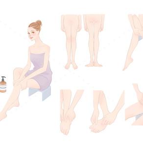東京ドーム天然温泉スパラクーア様のインスタグラムコンテンツ『バスタイムでもっと美人に「正座入浴」「5分間お風呂モミ」「3点リンパさすり」』のイラストを描きました。