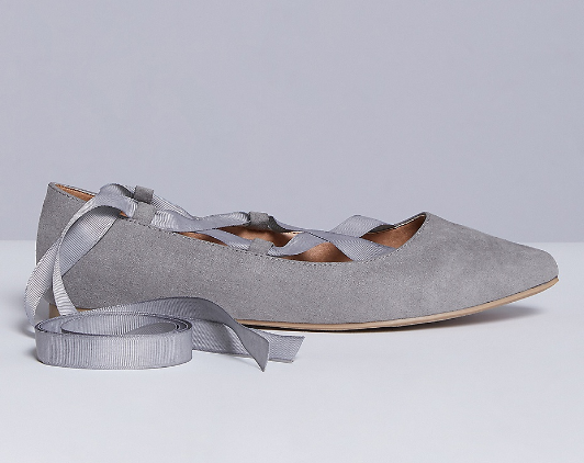 light grey lace-up pointy toed flats with grey grosgrain ribbon