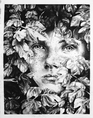 Emma Vidal, La recherche de l'absolu, 2014, Fusain sur papier, 150 x 180 cm