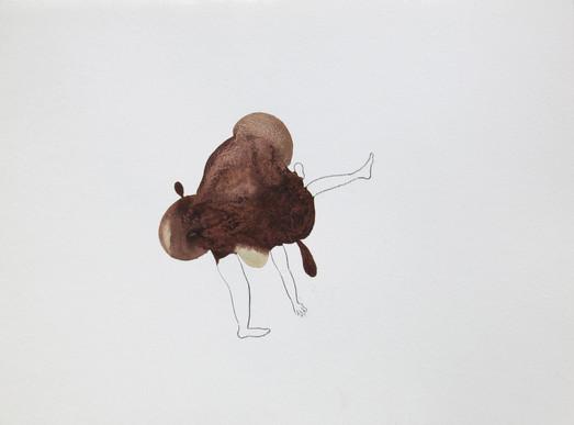 Zieu Zhou, Sans titre, 2016, Encre de Chine, crayon et vin rouge, 24 x 32 cm