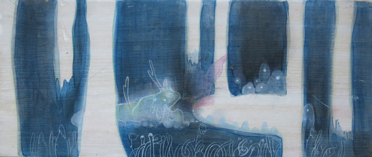 Zieu Zhou, Sans titre, 2016, Acrylique et crayon de couleur, 15 x 8.5 x 6 cm