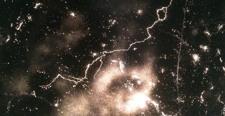 Tony Jouanneau, Cosm0s  (série Constellations), 2015, dispositif vouté rétro-éclairé, 22 x 22 cm