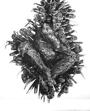 Emma Vidal, Gold III, 2014, Fusain sur papier, 152 x 108 cm