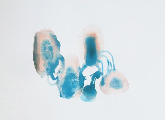 Zieu Zhou, Sans titre, 2016, Aquarelle, encre, crayon et pigment sur papier, 24 x 32 cm