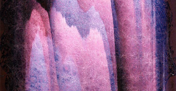 Inès Leroy Galan, Série Glitches, 2012, photographie imprimée sur papier transfert pour impression par sublimation et trace des fils polyester collés et rigidifiés, 20,6 x 28,8 cm