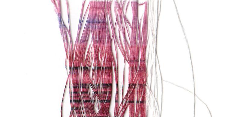 Inès Leroy Galan, Série des Faux-tissages ou Phototissages, 2012, série des photographies Glitches imprimées par sublimation sur fils polyester, 2,3 x 6,5 cm