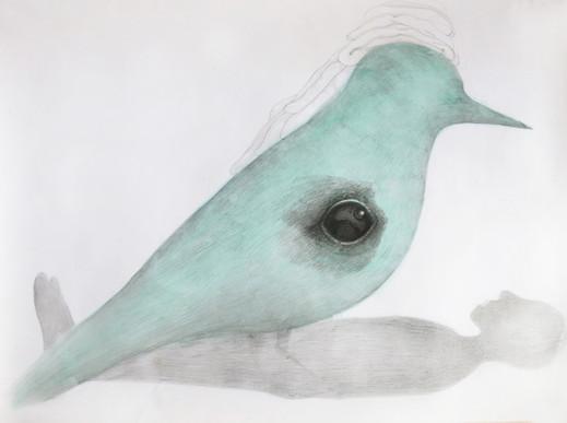 Zieu Zhou, Sans titre, 2014, Aquarelle, encre, crayon et mine graphite, 70 x 110 cm