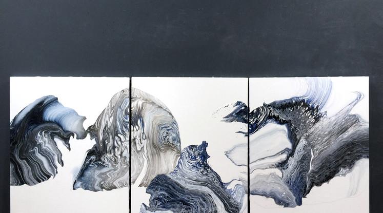 Silvere Jarrosson, Figures 27, 28 et 29 (triptyque), acrylique, élastomère et vernis sur toiles, 2018, 116x81cm