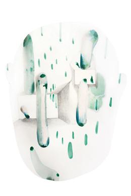 Zieu Zhou, Sans titre, 2016, Aquarelle, encre, crayon et lait sur papier, 49 x 65 cm