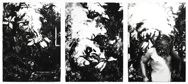 Emma Vidal, Hidding, 2016, Fusain sur papier, Triptyque, 76,2 x 174 cm
