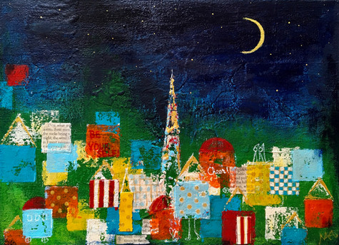A City lit by the Crescent Moon