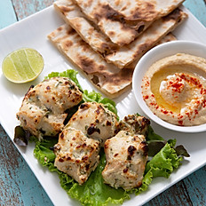 Tandoori Murgh Malai Tikka Kebab + Hummus + Plain Naan