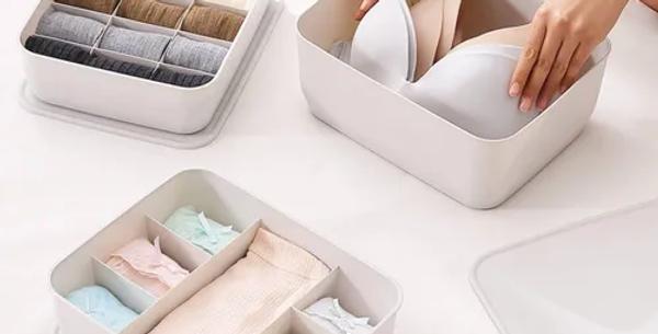 Canasto Organizador Plastico Apilable con tapa 7 divisiones  Muji Style