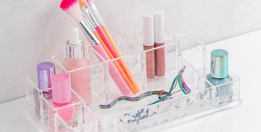 Organizador Acrílico Para Maquillaje Cosméticos Uñas Patrón Diamante