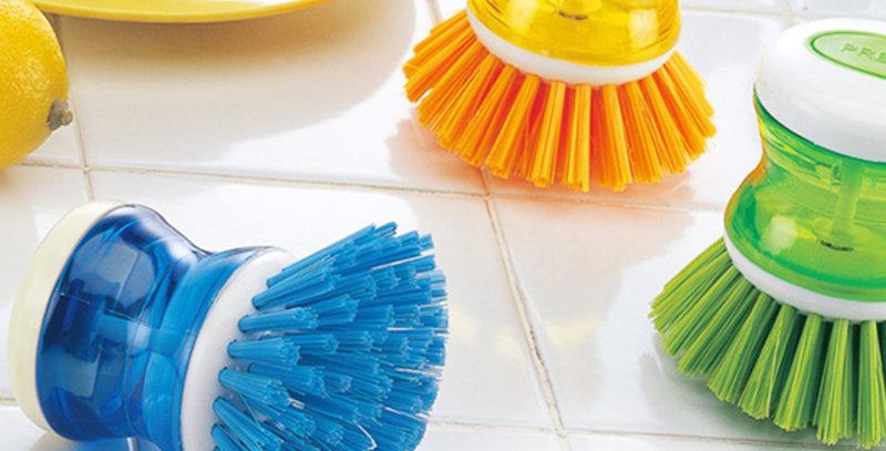 Cepillo lavaplatos cocina con dispenser de jabon recargable