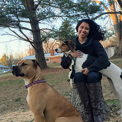 Ms Giron with her dogs.JPG