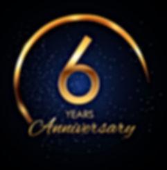 template-logo-6-year-anniversary-vector-