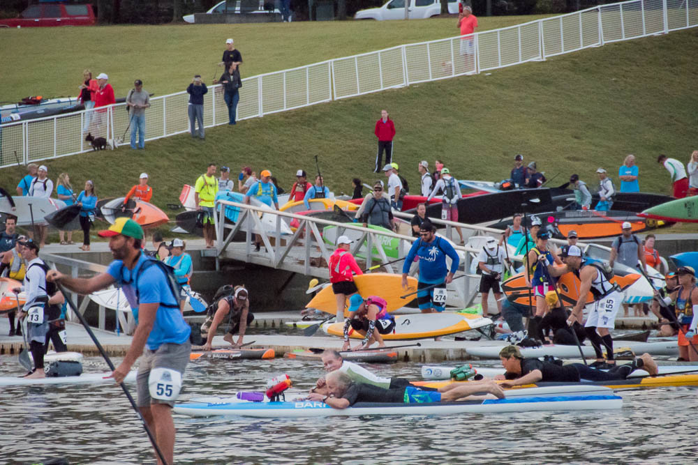 Entering the water at the start