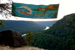 Kona Brewing banner above the gorge
