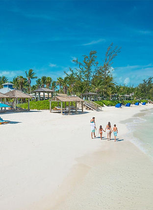 Family travel beach in the Caribbean