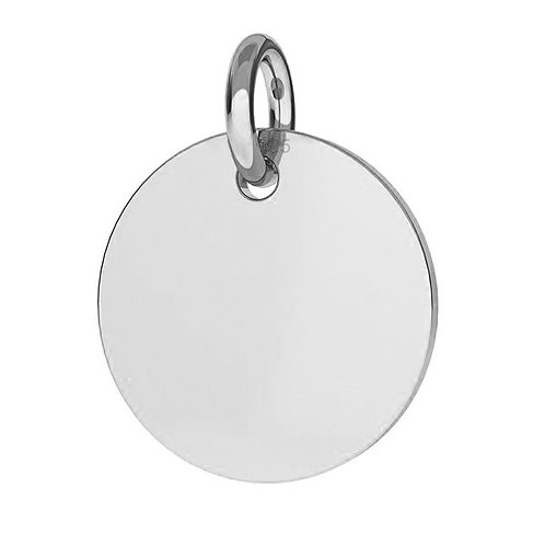 single small round silver pendant with engraving