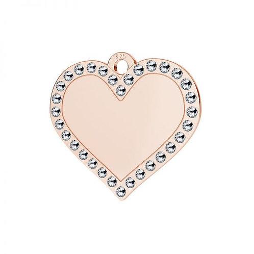 heart pendant rose gold with rhinestones