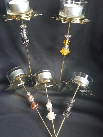 Kerzenstecker mit 2 Glasperlen            CH 25.00