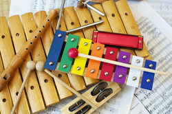 Some typical, colorful music instruments