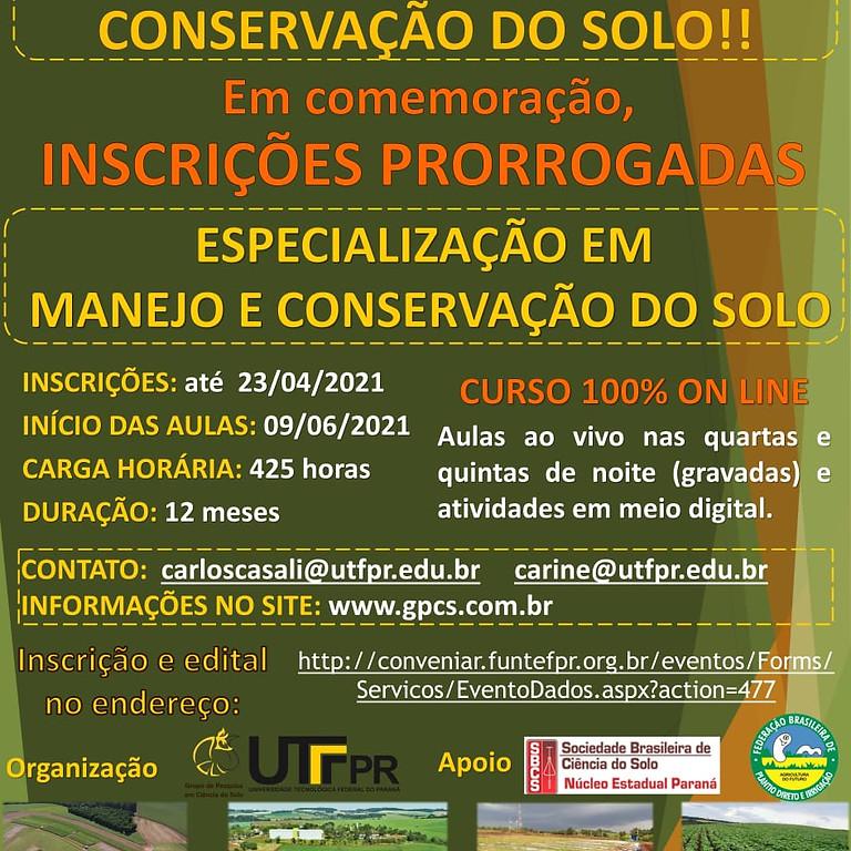 PRORROGADO: Especialização em Manejo e Conservação do Solo