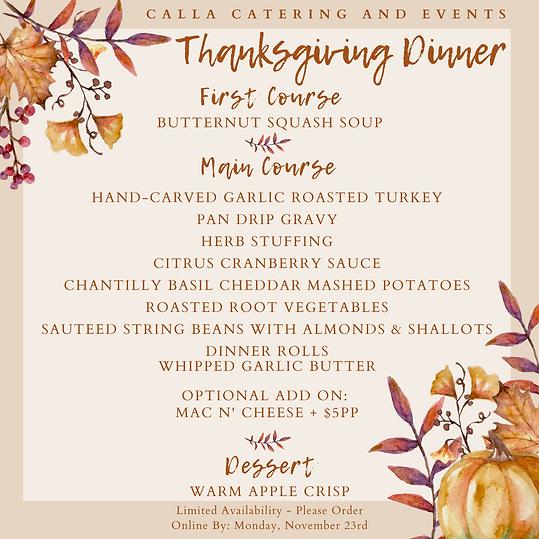 Thanksgiving Menu - extended