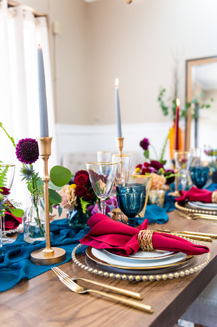 Jewel Tone and Gold Table Setting