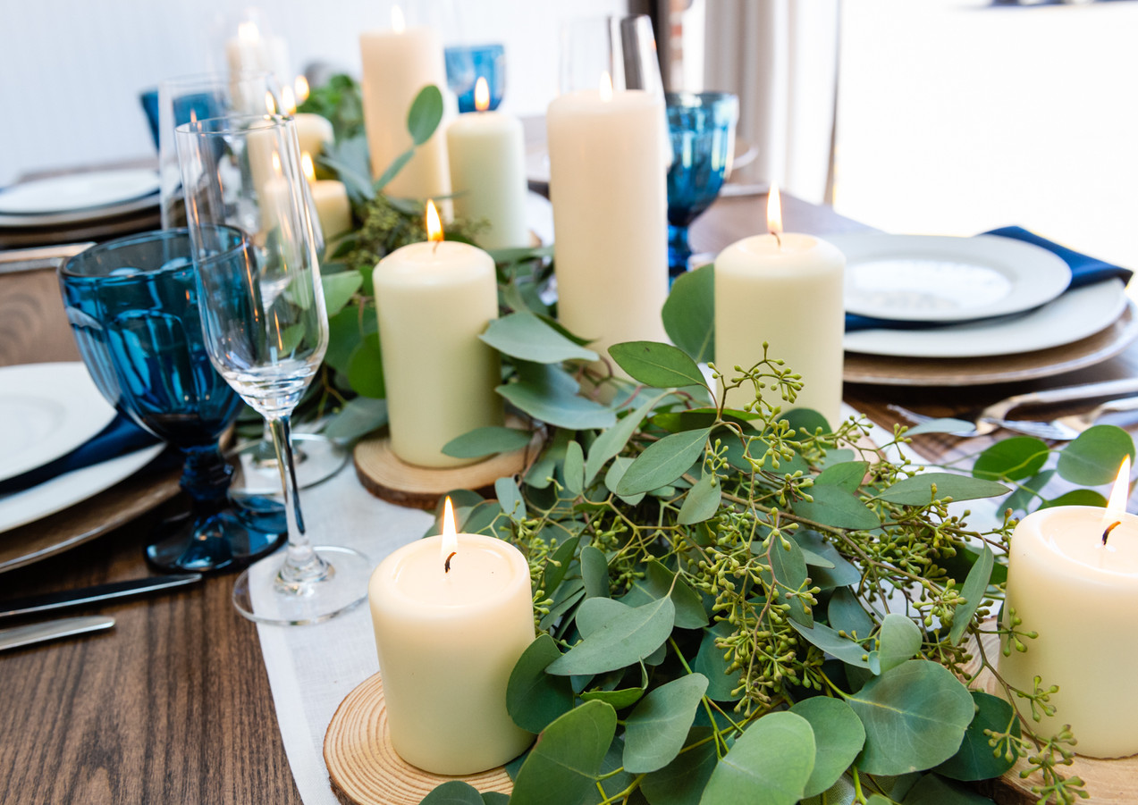 Greenery and Candles for our Private Tasting Room