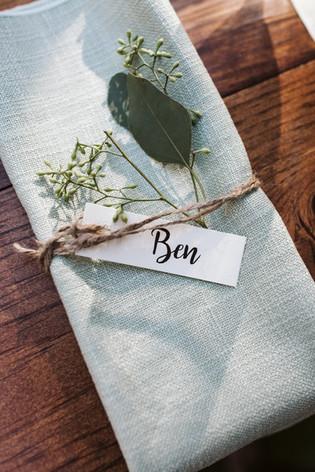 Sage Linen Napkin Rustic Details