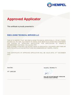 Hempel Approved ApplicatorCertificate