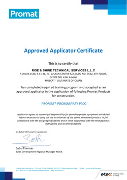 Promat Approved Certificate