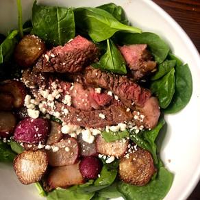 Easy Keto Spinach, Steak & Radish Bowl