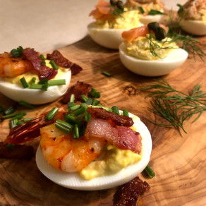 Shrimp & Bacon Deviled Eggs: