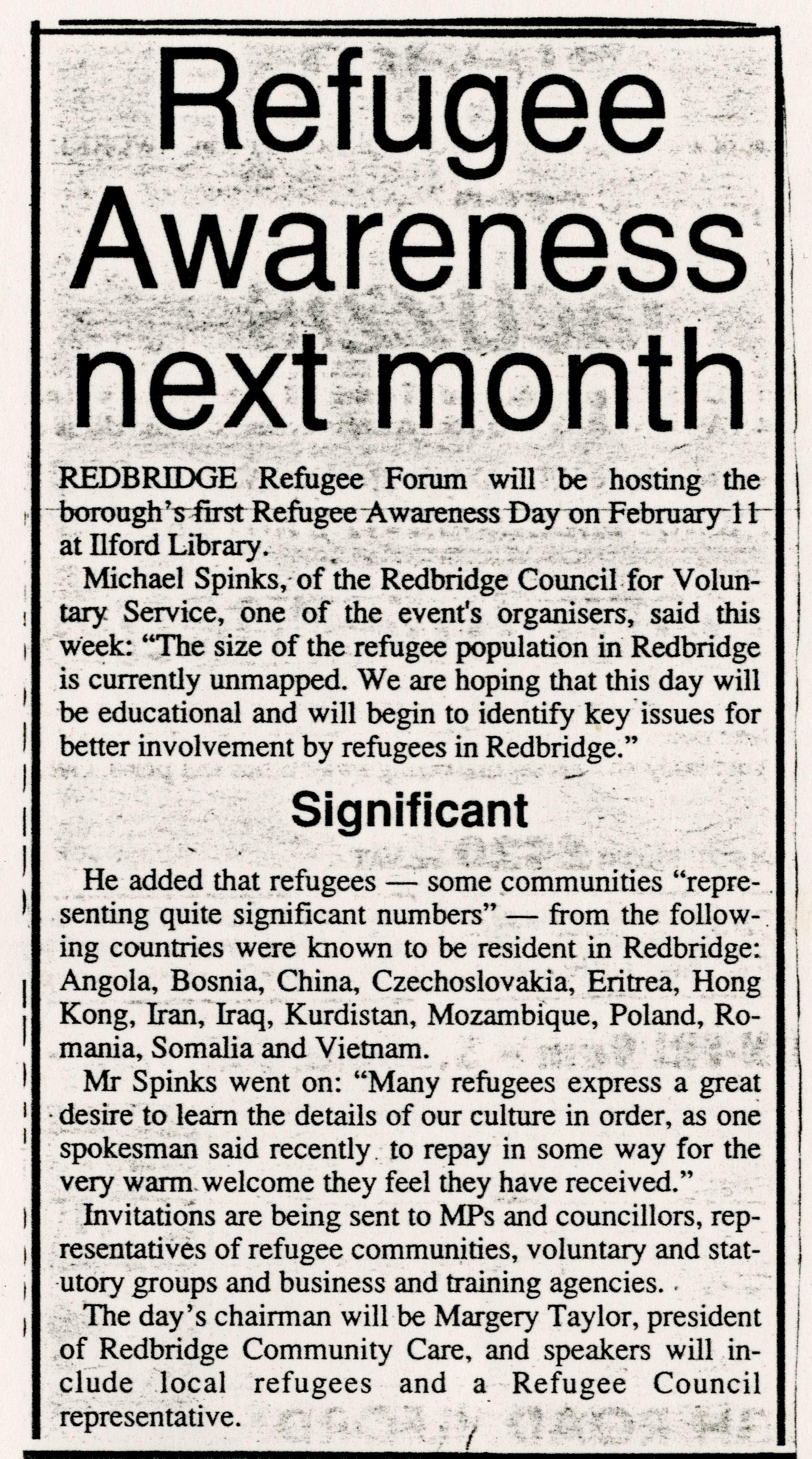 Refugee Awareness Month