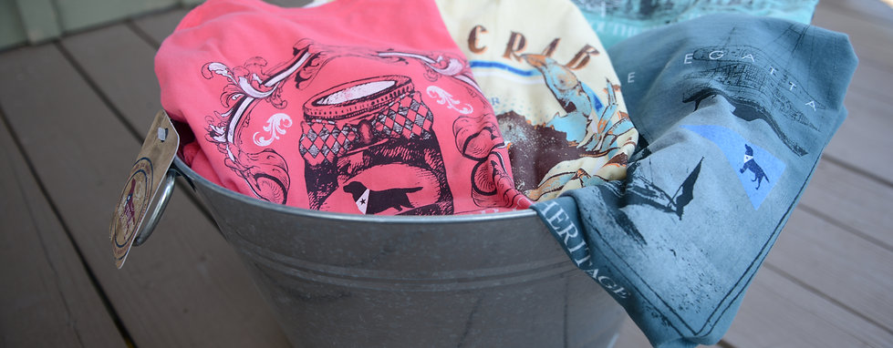 Vintage designs of southern heritage t-shirts in a galvanized tub