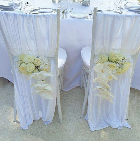 Beautiful chair floral for the Bride and