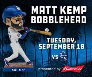2018 Los Angeles Dodgers Matt Kemp Bobblehead 9/18